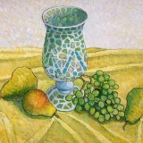 """""""Mosaic Vase with Pears and Grapes"""" by Gainor Roberts"""