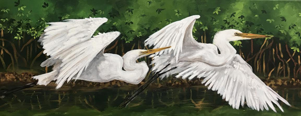 """2 Egrets"" By Emily Levy"