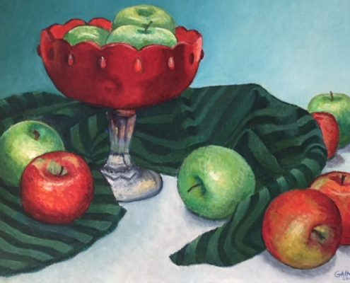 Apples in a Red Glass Bowl by Gainor Roberts