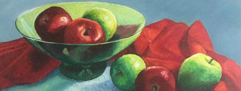 Red and Green Still Life by Gainor Roberts - 845x321