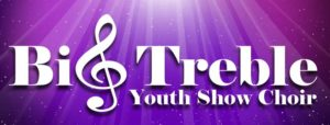 Big Treble Youth Show Choir logo - purple background