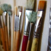 Paint Brushes against canvas - painting class