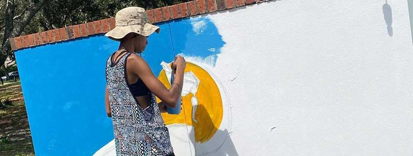 Alexis Brown painting I Am Safe mural