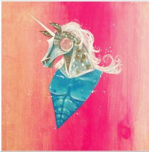 Spencer Meyers - Unicorn with Blue chest and pink background