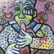 HM - Play that Horn by Gwendolynn Aqui-Brooks - mixed media